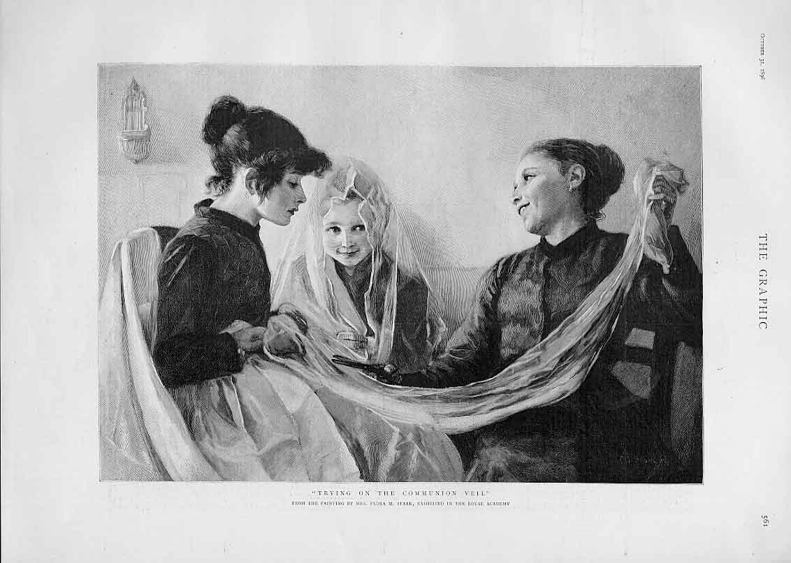 Print Trying On Communion Veil By Mrs Stark Fine Art 1896 61Bbb1 Old Original
