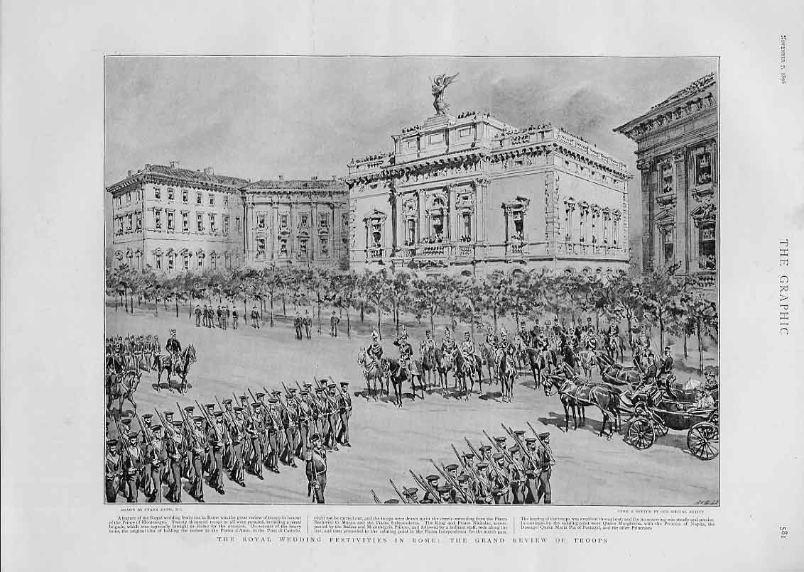 Print Royal Wedding Festivities At Rome 1896 81Bbb1 Old Original