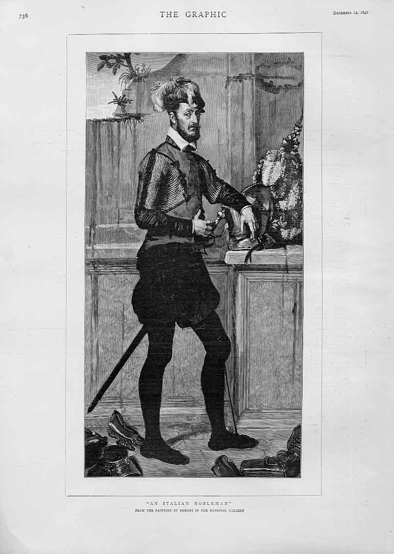 [Print Italian Nobleman By Moroni 1896 36Bbb1 Old Original]