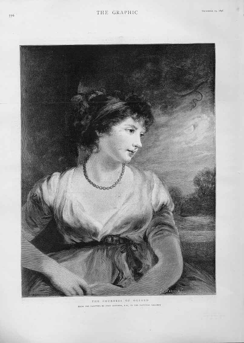 [Print The Countess Oxford By Hoppner 1896 76Bbb1 Old Original]