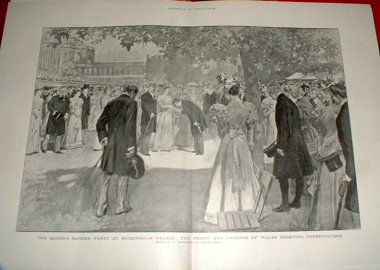 Print Queens Garden Party Buckingham Palace 1896 01Tbbb1 Old Original