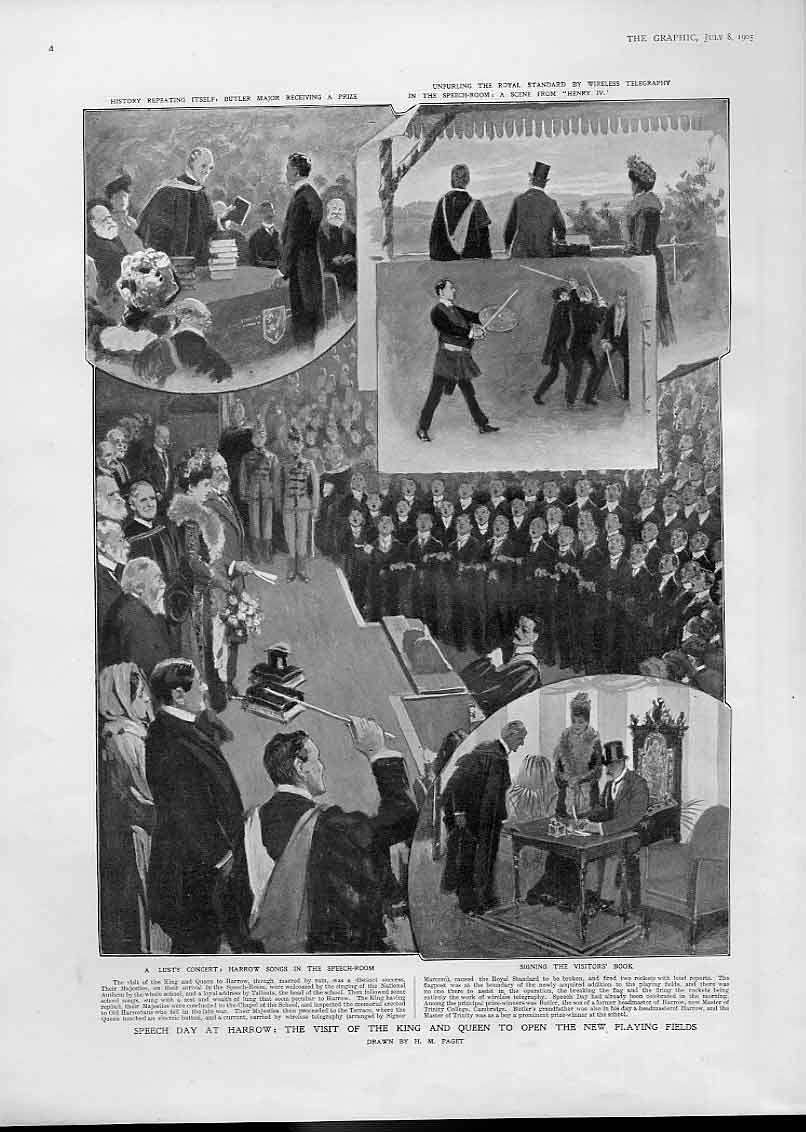 Print Speech Day Harrow New Playing Fields 1905 04Bbb1 Old Original
