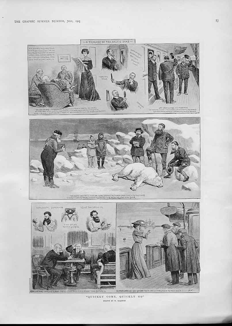Print Quickly Come Quickly Go Artic Sea Tragedy 1905 13Bbb1 Old Original