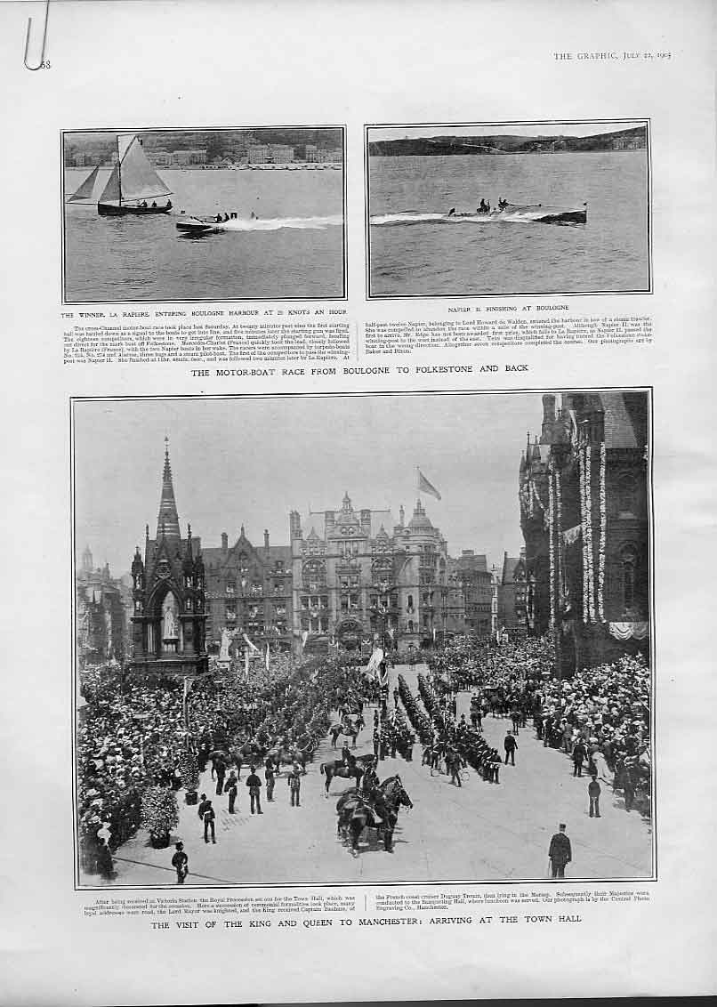 Print King Edward & Queen Visit Manchester 1905 68Abbb1 Old Original