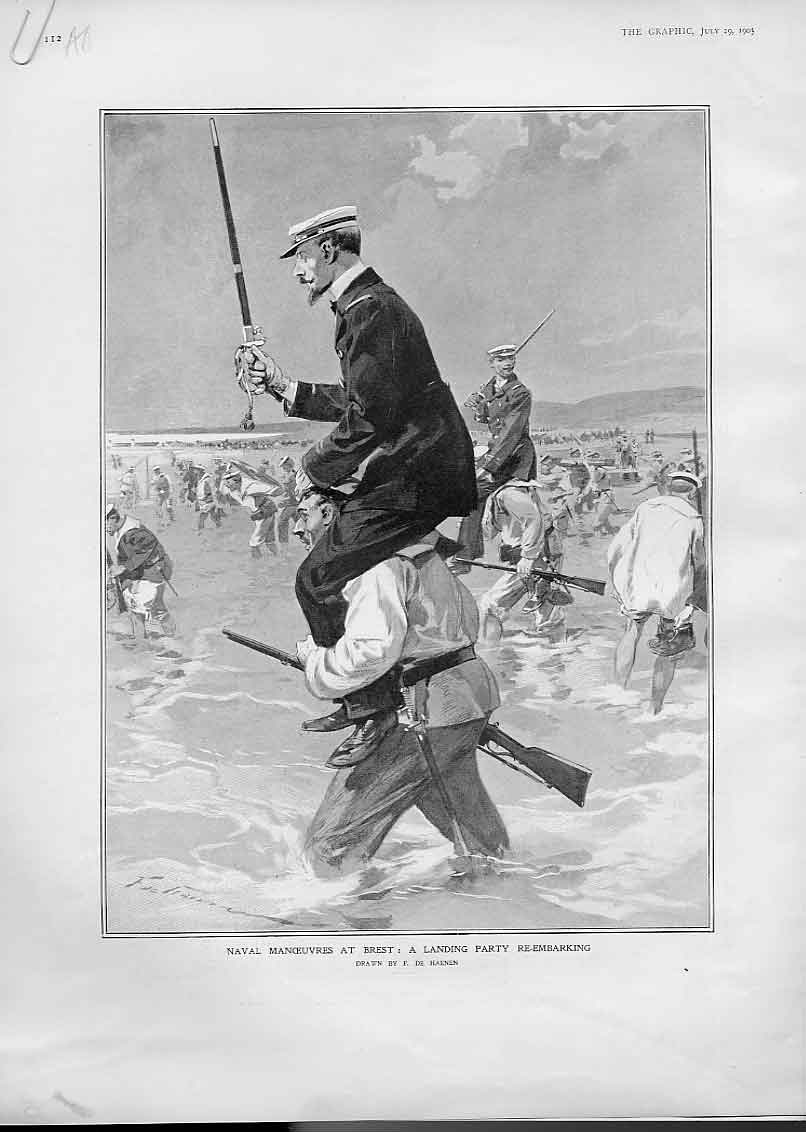 Print Naval Landing At Brest 1905 People Ships 12Abbb1 Old Original