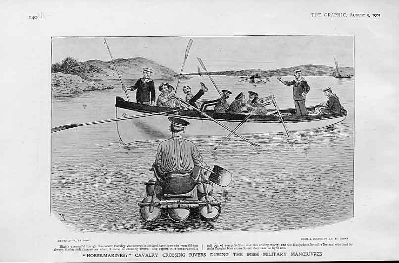 Print Horse Marines Cavalry Cross Rivers In Ireland 1905 40Ubbb1 Old Original