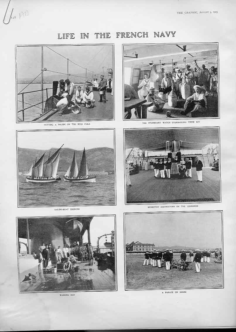 Print Life In French Navy 1905 Ships 48Abbb1 Old Original