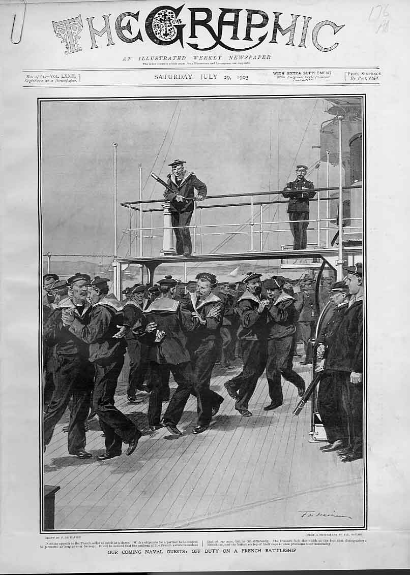 Print English & French Navies 1905 Ships Cowes & Off Duty 76Abbb1 Old Original