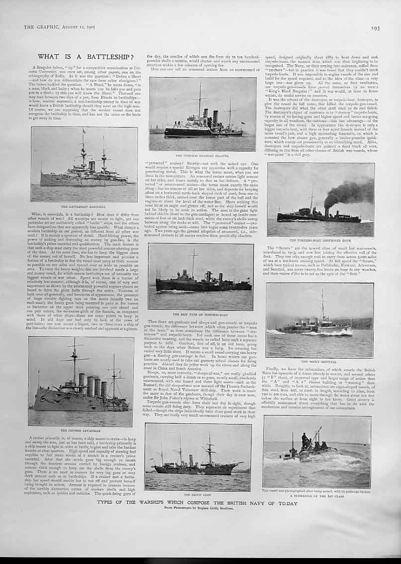 Print What Is A Battle Ship 1905 Ships Navy 93Bbb1 Old Original