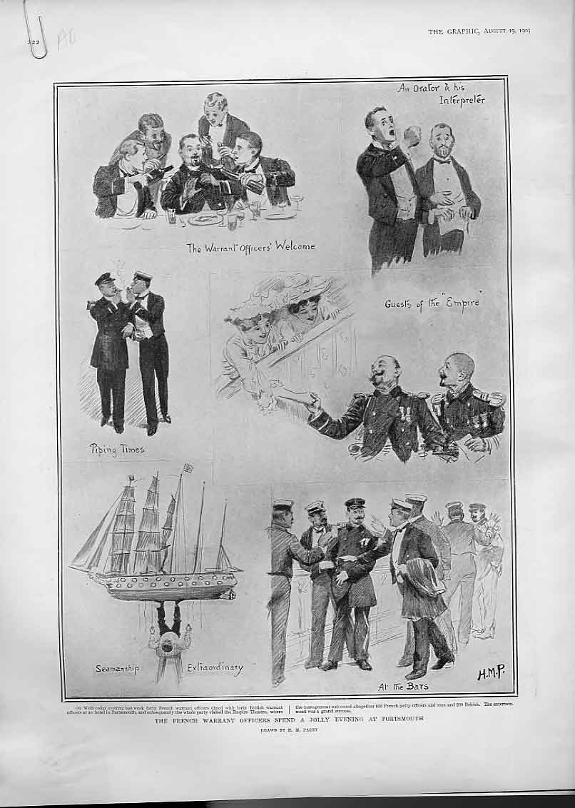 Print French Warrant Officers At Portsmouth Harbour 1905 Ship 22Abbb1 Old Original