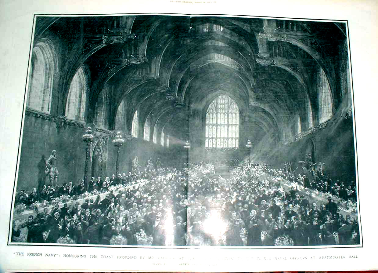 Print Westminister Hall Luncheon French Naval Oficers 1905 27Tbbb1 Old Original