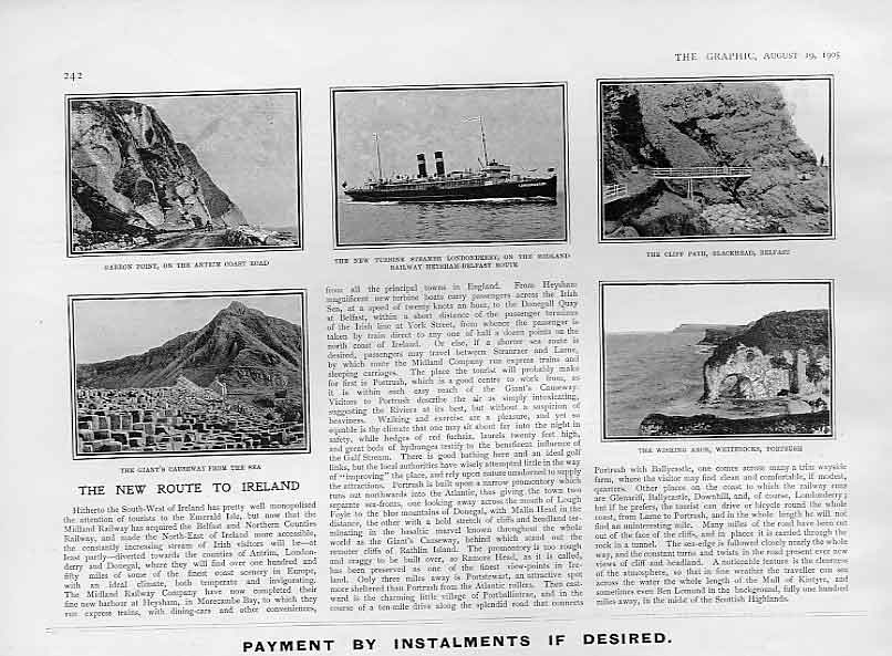 Print New Route To Ireland Heysham Morcambe Bay Belfast 1905 42Bbb1 Old Original