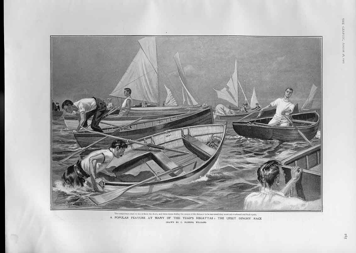 Print Upset Dingy Race At 1905 Regatta Ships Sport 65Bbb1 Old Original