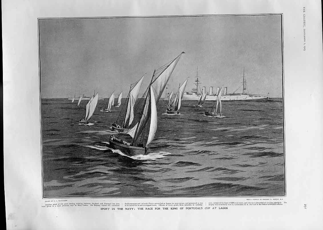 Print Navy Sport Yacht Race King Portugal Cup Lagos 1905 91Bbb1 Old Original