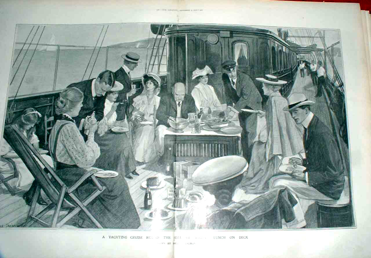 Print Lunch On Deck Cruising Around Isle Wight 1905 25Tbbb1 Old Original