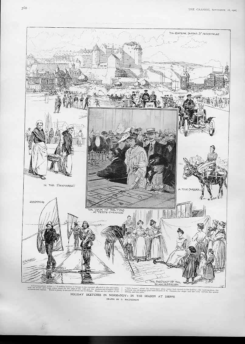 Print The Holiday Season Dieppe Normandy France 1905 60Bbb1 Old Original