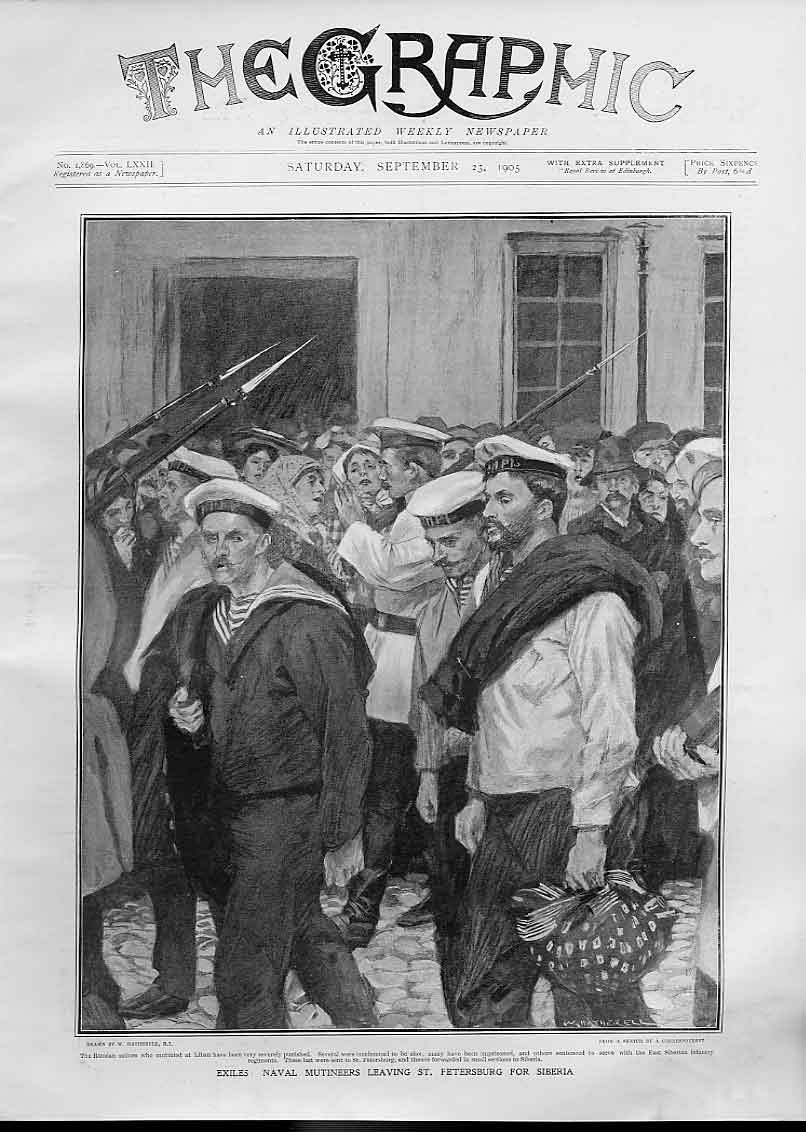 Print Naval Mutineers Leave St Petersburg For Siberia 1905 74Bbb1 Old Original