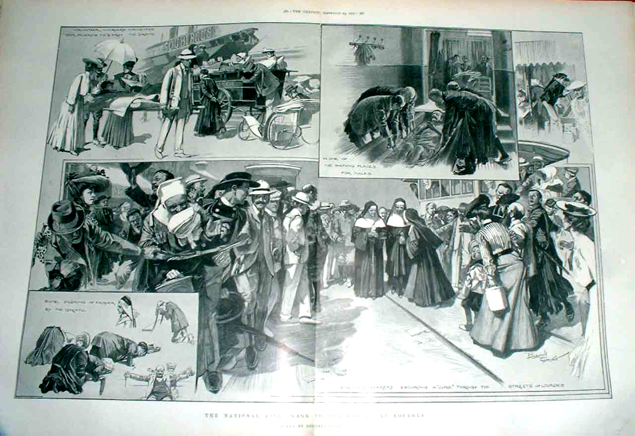 Print National Pilgrimage To Grotto At Lourdes 1905 85Tbbb1 Old Original