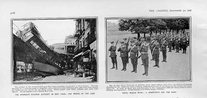 Print Overhead Railway Accident New York Ninth Avenue 1905 26Bbb1 Old Original