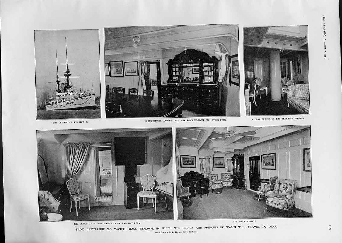 Print Hms Rewon From Battle Ship To Royal Yacht 1905 Ships 39Bbb1 Old Original