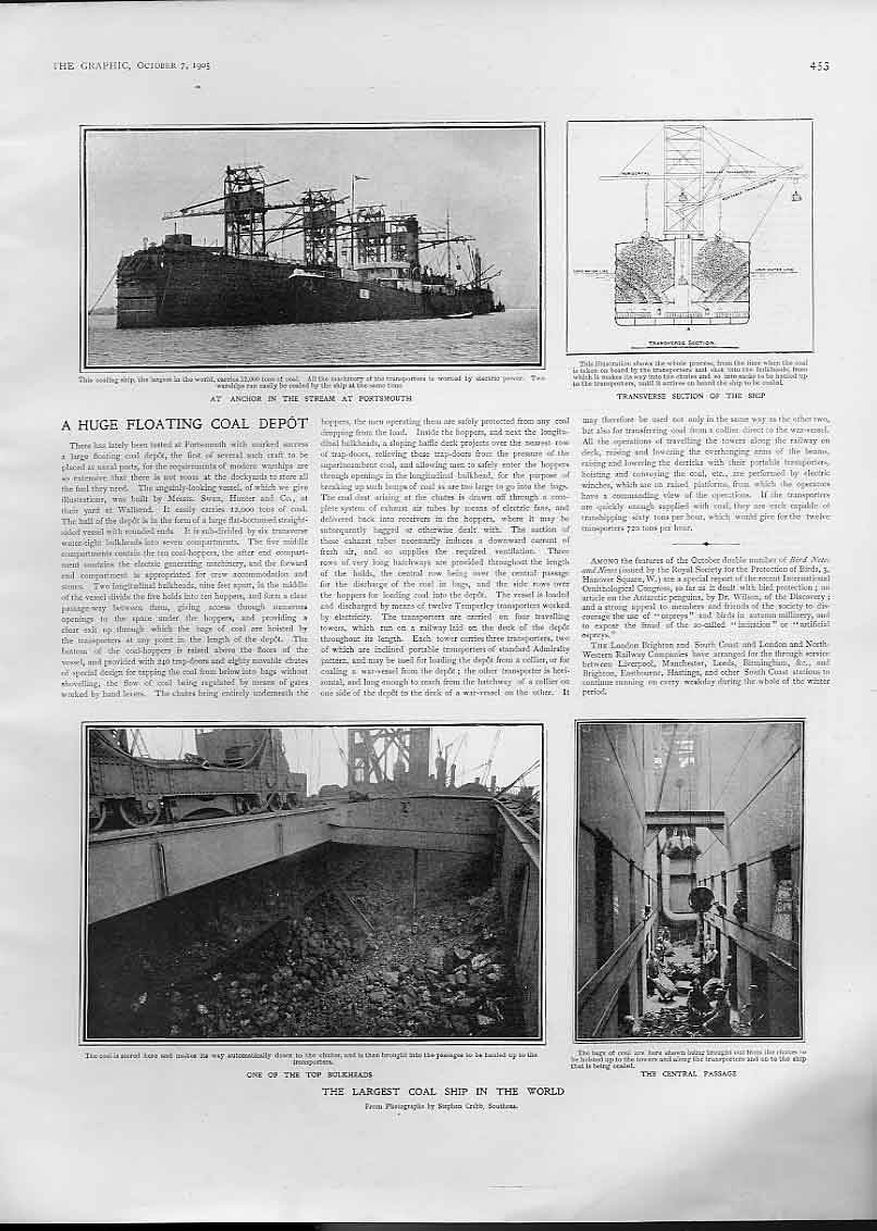 Print Largest Coal Ship In World 1905 53Bbb1 Old Original
