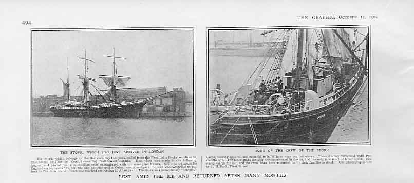 Print Returned After Months Lost In Ice Nw Canada 1905 Ships 94Bbb1 Old Original