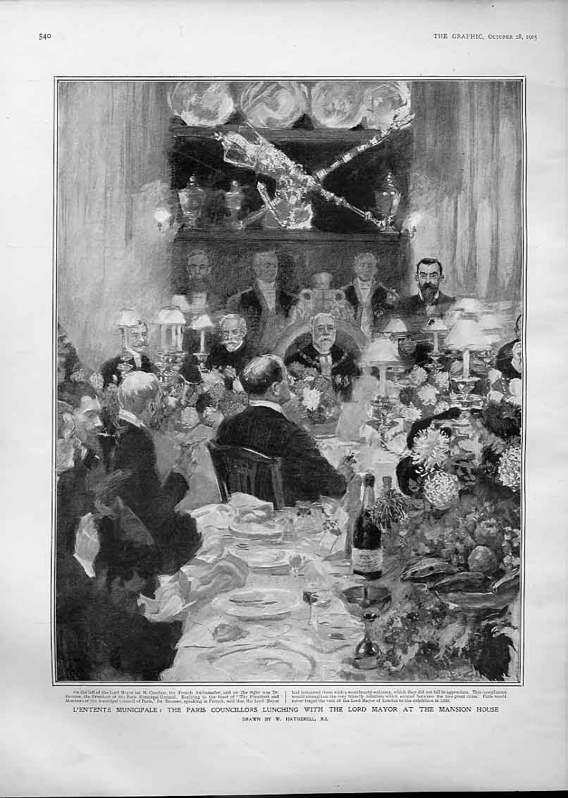Print L'Entente Municipale Paris Councillors Lunch Mansion H 40Bbb1 Old Original