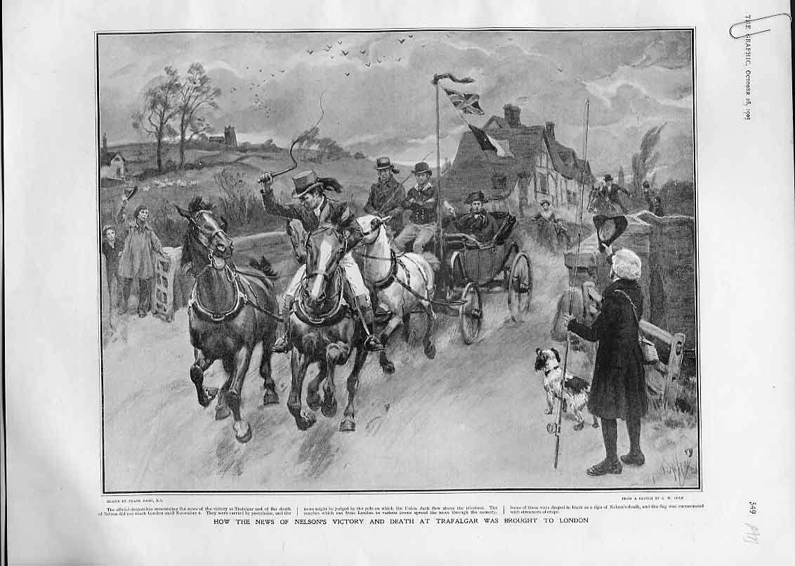 Print News Nelson Victory Brought To London 1905 Centenary 49Abbb1 Old Original