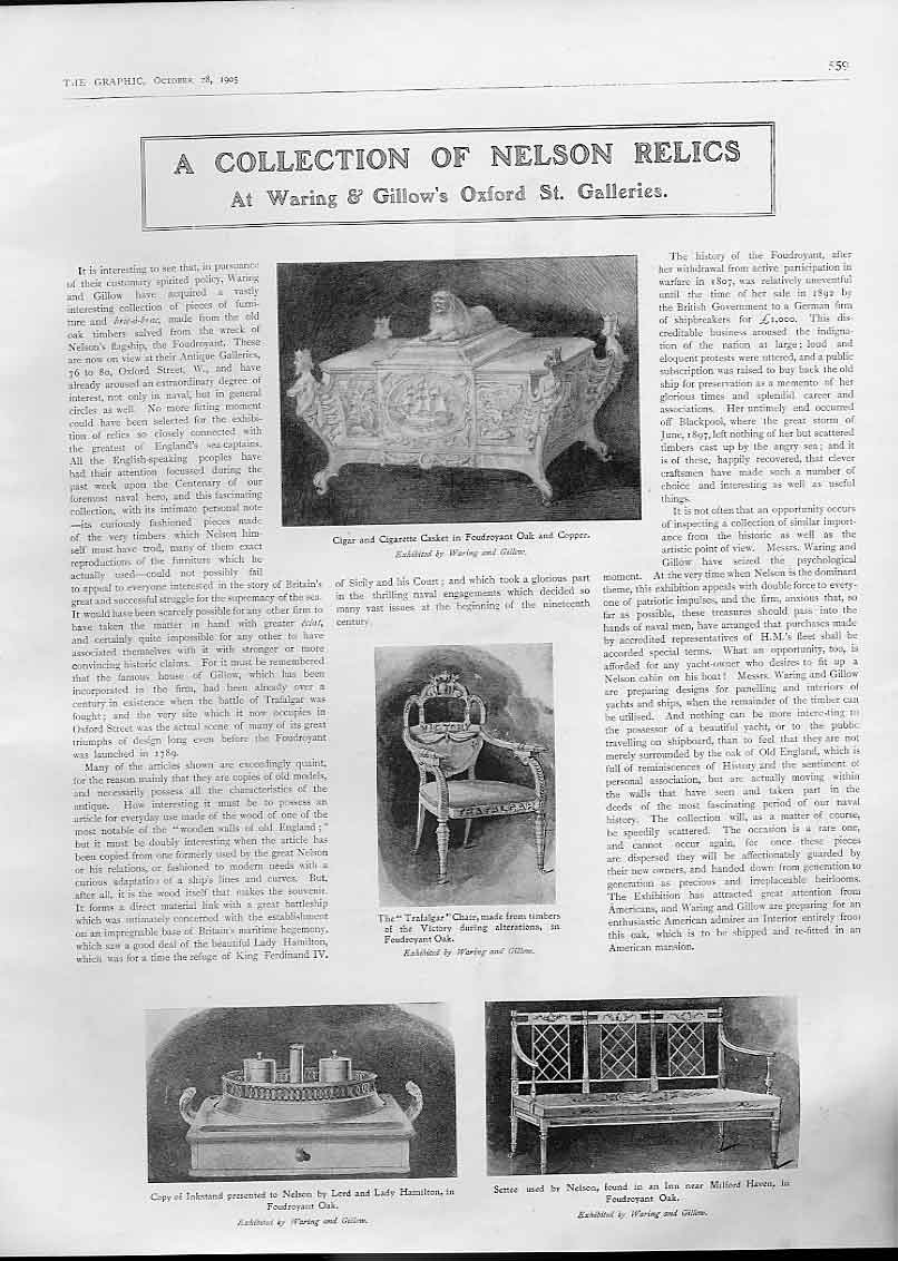 Print A Nelson Relics At Waring & Gillows 1905 59Bbb1 Old Original