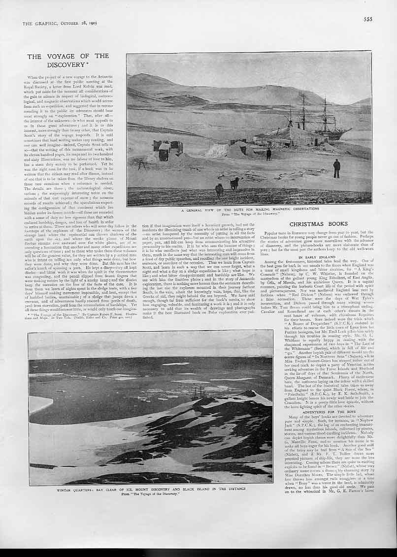 Print Winter Quarters Mount Discovery 1905 Artic Exploration 55Bbb1 Old Original