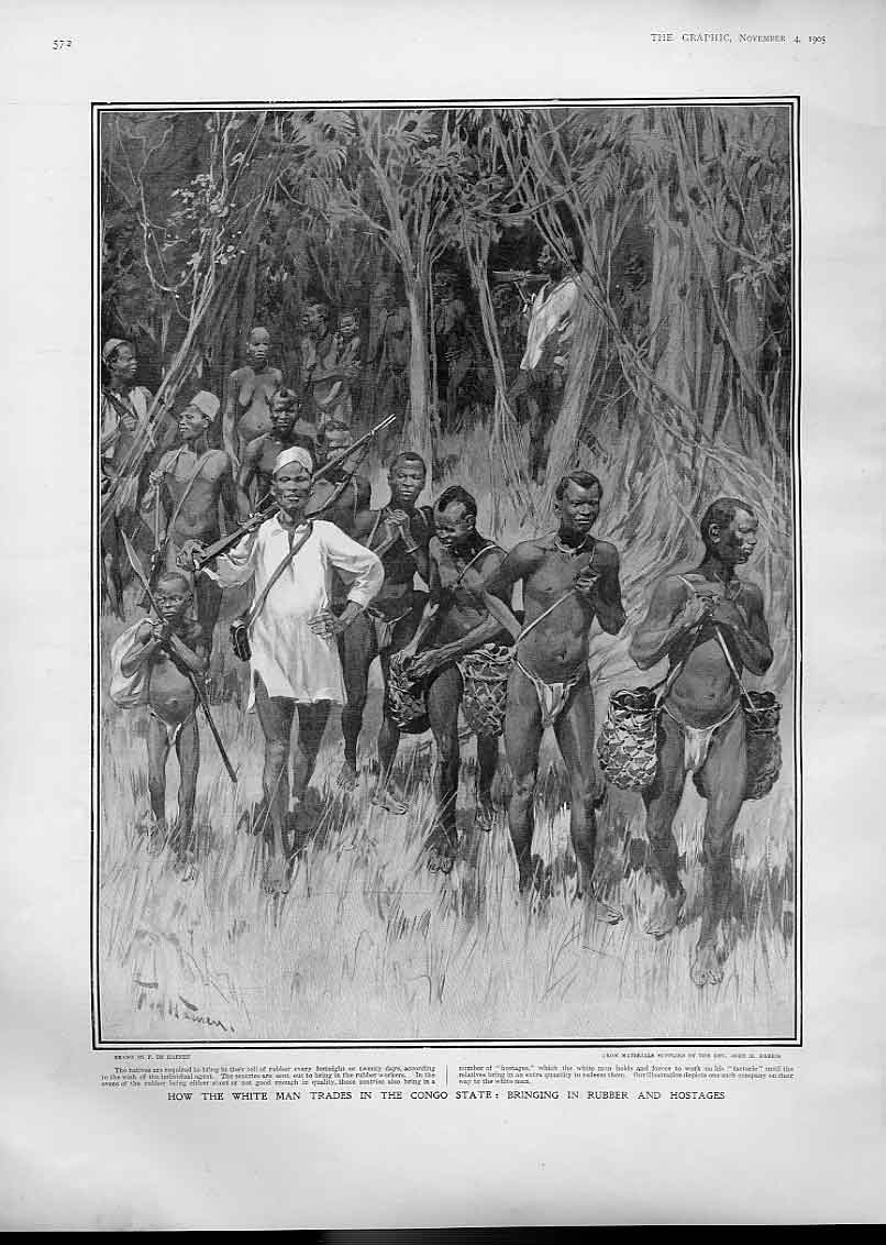 Print White Man Trades Congo 1905 Rubber & Hostages Africa 72Bbb1 Old Original