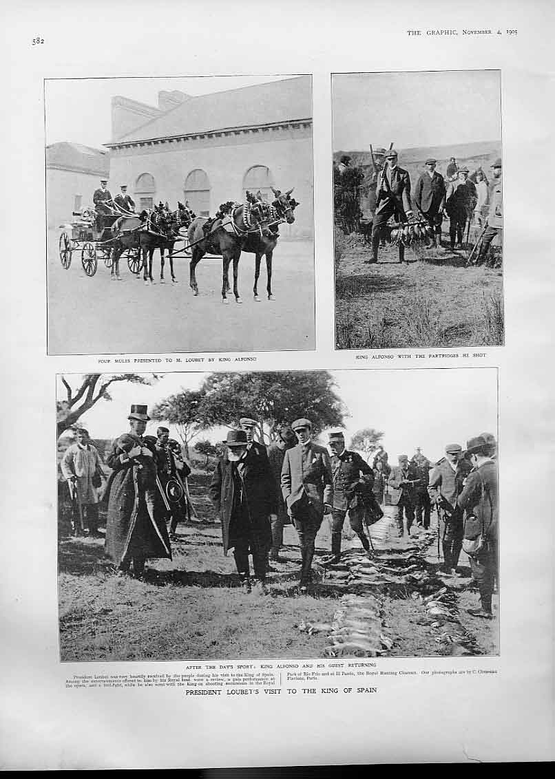 Print President Loubet'S Visit To King Spain 190582Bbb1 Old Original
