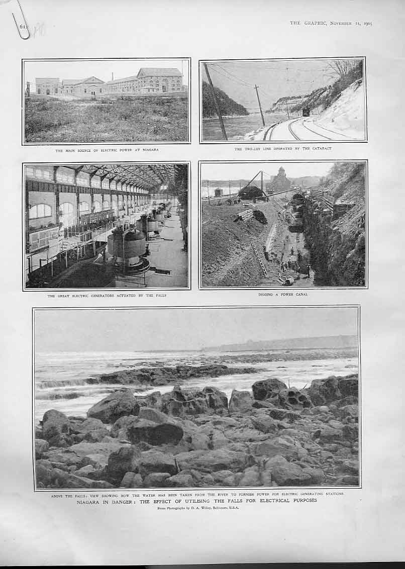 Print Niagra Falls Danger 1905 Water Extraction Electricity 12Abbb1 Old Original