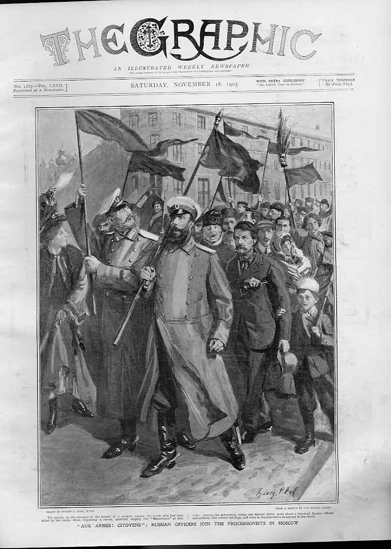 Print Aux Armes Citoyens Officers In Moscow 1905 Russia 34Bbb1 Old Original