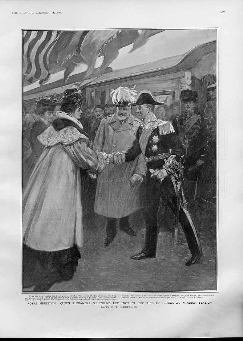 Print Queen Alaxendra Welcome King Greece Windsor Station 190 47Bbb1 Old Original