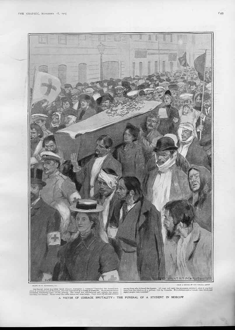 [Print Victim Cossack Brutality Student Funeral Moscow Russia 49Bbb1 Old Original]
