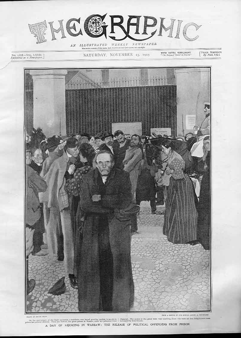 Print Day Rejoicing Warsaw Release Political Prisoner 1905 78Bbb1 Old Original