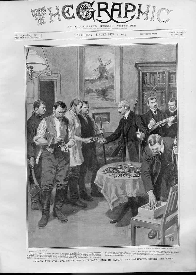 [Print Moscow Riots 1905 Arming Garrison Private House Russia 16Bbb1 Old Original]