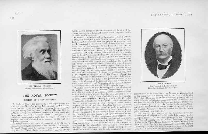 Print Royal Scoiety Presidents Huggins & Lord Rayleigh 1905 28Ubbb1 Old Original