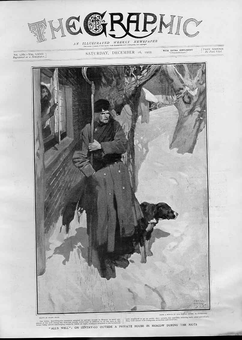 [Print 1905 Security Guard Pvt House Moscow During Riot Russia 02Bbb1 Old Original]