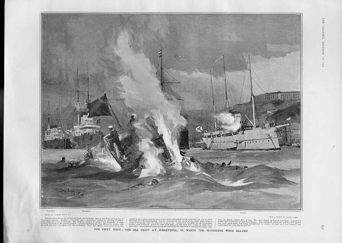 [Print Sea Fight Sebastopol Mutineers Beaten 1905 Ships 07Bbb1 Old Original]