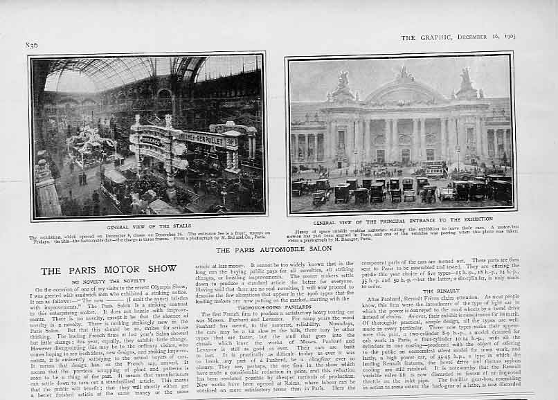 [Print The Paris Automobile Salon 1905 France Cars 36Bbb1 Old Original]