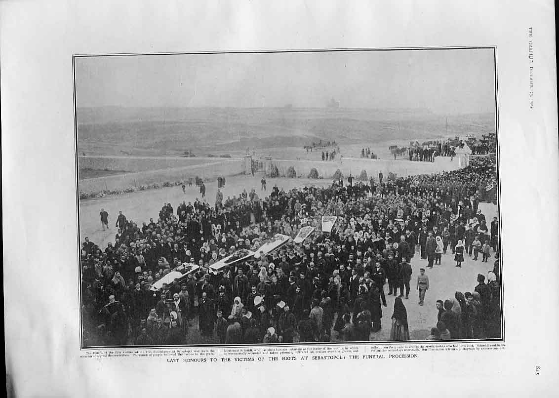 [Print Funeral Procession For Victims Riot Sebastolpol Crimea 45Bbb1 Old Original]