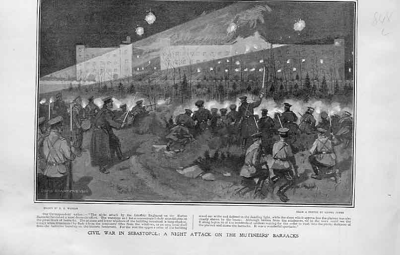 [Print Civil War Sebastopol Attack On Mutineers Barracks 1905 48Lbbb1 Old Original]