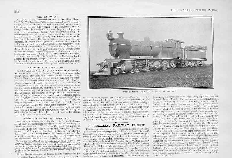 [Print Largest Train Engine Built England 1905 Railway 64Bbb1 Old Original]