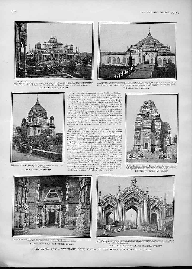 Print Royal Visit To Lucknow & Gwalior India 1905 72Bbb1 Old Original