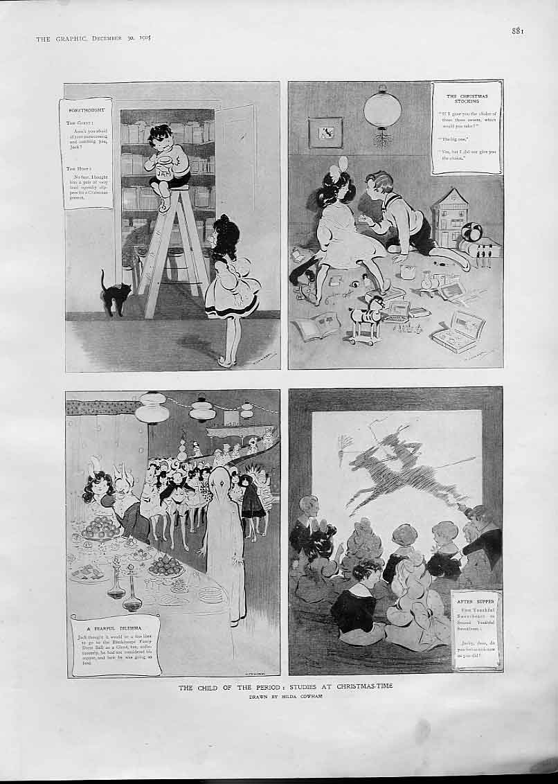 [Print Child Period 1905 Studies At Christmas 81Bbb1 Old Original]