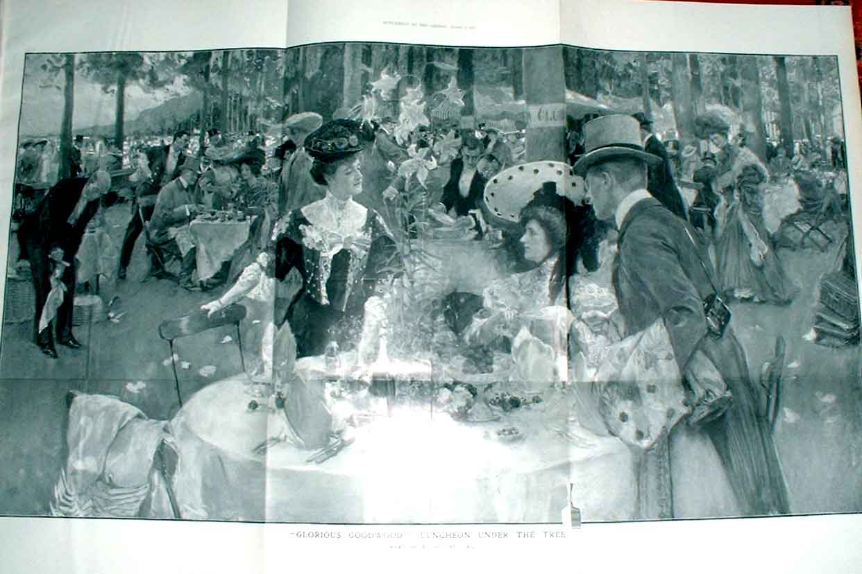 Print Glorious Goodwood 1905 Lunch Under The Tree Large 19Tbbb1 Old Original