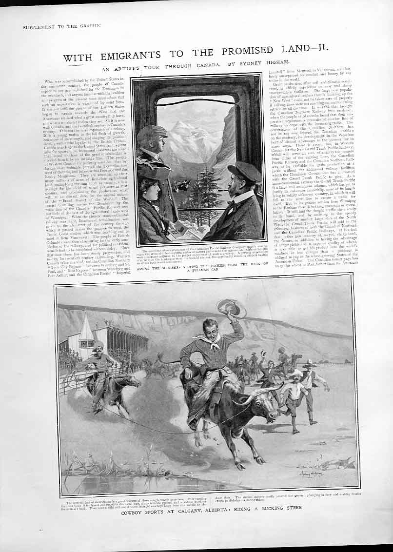 Print Cowboy Sports Galgary Canada 1905 Bucking Steer 25Bbb1 Old Original