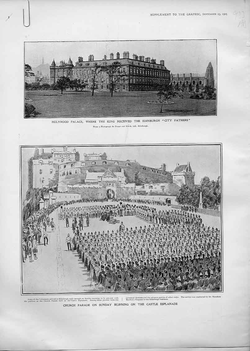 Print Church Parade Edinburgh Castle 1905 Troops Soldiers 33Abbb1 Old Original